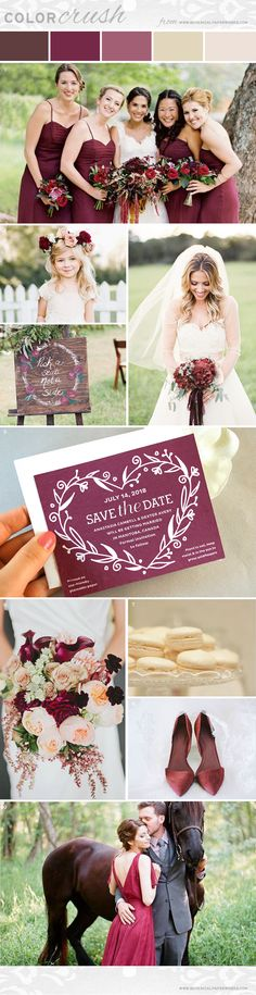 We paired rich reds like #marsala and burgundy with warm, woodsy browns and delicate cream into a Color Crush palette that's perfect for #fallweddings.