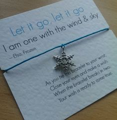 Frozen 'Let it go, let it go' Elsa Quote Wish Bracelet With Silver Tone Snowflake Charm