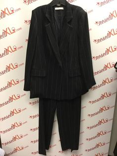 55aa67a17e3 Marina Rinaldi Size 18 2 PC Black Striped Suit