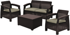 Метки: Плетеные кресла для дачи, Садовые диваны из ротанга, Садовые кресла из ротанга.              Материал: Пластик.              Бренд: Keter.              Стили: Классика и неоклассика.              Цвета: Коричневый, Темно-коричневый.