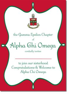 Alpha Chi Omega Bid Day Invitations ... Cute Bid Day Card with crest, customized for your recruitment http://www.trulysisters.com/alpha-chi-omega-bid-day-cards-e/
