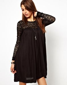 Image 1 of Religion Swing Dress With Lace Yoke