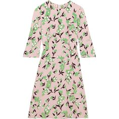 Marni Floral-print crepe dress (10 700 SEK) ❤ liked on Polyvore featuring dresses, fit and flare dress, crepe dress, pastel dresses, floral day dress and floral print dress