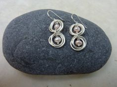 Pale Pink Pearl and Silver Chainmaille Earrings by Linkouture, $20.00