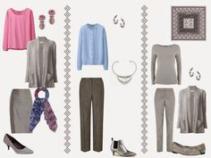 A capsule wardrobe in a grey, blue, and pink color palette inspired by art: Peripheral Vision 2 by Elis Cooke