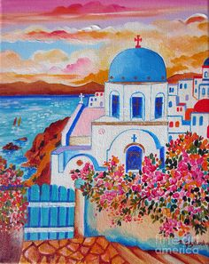 Santorini Painting - Let Us Go To Santorini by Roberto Gagliardi