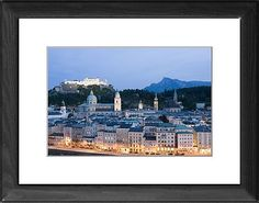 City view at dusk, Salzburg, Austria, Europe Framed Artwork - Robert Harding's World In Print