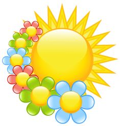 Spring Sun with Flowers Clipart