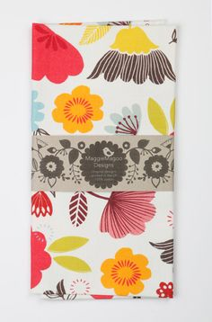 Bright floral tea towel by MaggieMagoo by maggiemagoodesigns
