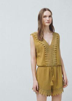 Lace cotton jumpsuit - Jumpsuits for Women | MANGO USA