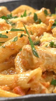 Creamy with a robust tomato flavor, this chicken pasta is perfect for any occasion.