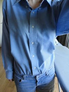 adjusting a too large button up shirt to fit- shoulders, sleeves and adding darts under bust