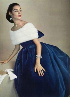 Jacques Fath, 1956. I LOVE Velvet; Despise the fur.