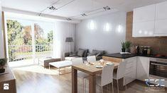 Projekt strefy dziennej i łazienki w mieszkaniu w Chorzowie - Średni salon z kuchnią z jadalnią z tarasem / balkonem, styl nowoczesny - zdjęcie od RESE Architekci Studio Projektowe