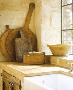 Rustic French farmhouse kitchen cutting boards and farm sink/reclaimed stone/steel window/Timeless and tranquil interior design decorating ideas on Hello Lovely to inspire your own classic decor/Pamela Pierce/Giannetti Home/Shannon Bowers/Veranda/Milieu French Cottage, French Country House, French Farmhouse, Country Living, Rustic French, White Farmhouse, Country Homes, Cottage Living, French Decor