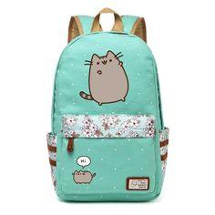 Pusheen Cat Canvas bag unicorn Flower wave point Rucksacks backpack for teenagers Girls women School Bags travel Shoulder Bag #pusheencatsdiy