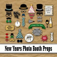 New Years Eve Photo Booth Props 2016  Printable  - 2016 new year ideas, digital collage sheet, digital download