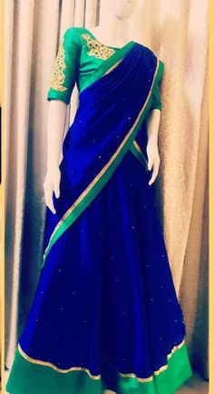 Half Saree Lehenga, Lehnga Dress, Saree Blouse, Dress Indian Style, Indian Outfits, Indian Sarees, Silk Sarees, Half Saree Designs, Saree Trends