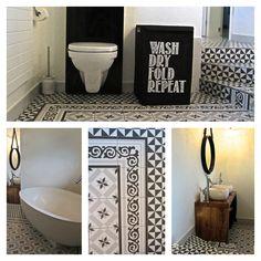 Vives Ceramica 1900 Calvet Gris Gilbert Gris Tiles for a Swiss bathroom project with stairs by Franziska van Rhienen.