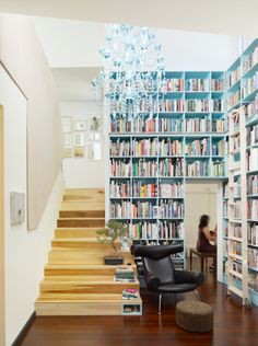 Love the chandelier and awesome bookshelves painted that beautiful pale turquoise to match.