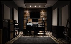 So inspiring and cozy. Studio Desk Music, Home Recording Studio Setup, Home Studio Setup, Loft Studio, Home Music Rooms, Burlington Ontario, Deco Studio, Sound Studio, Vintage Design