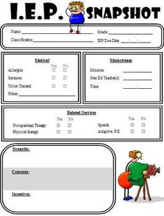 iep at a glance template - 1000 images about information on pinterest education