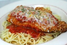 AMAZING chicken parmesan by annieseats..It's healthier than most chicken parmesan recipes because you bake the chicken instead of fry it. Made it for date night tonight and it was so delicious!