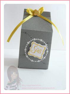Stampin' Up! - Geschenkbox - Mini-Milchkarton - Circle Circus - Itty Bitty - Klein, aber fein - Geschwungenes Mini-Etikett - www.rosamaedchen.blogspot.de