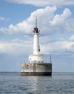 Lighthouse at Green Bay Harbor Entrance, Wisconsin, USA ~Located in the middle of Green Bay 9.3 miles from the city of Green Bay. (considered a sub-basin of Lake Michigan)