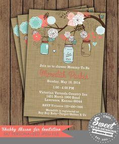 Burlap Mason Jar Invitation Vintage Shabby Chic French Country Shower Baby Bridal Wedding Digital Printable Coral Turquoise on Etsy, $16.00