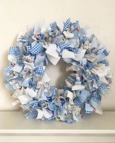 Handmade Shabby Chic Blue And Cream Design Rag Wreath Fabric Wreath Wall Hanging