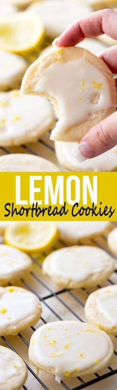 Shortbread Cookies: Literally the best cookies ever! These light, buttery cookies offer a subtle lemon flavor, and are topped with a bright and vibrant lemon glaze, giving you a mouthful of delicious goodness. These are special cookies. Lemon Desserts, Cookie Desserts, Delicious Desserts, Dessert Recipes, Yummy Food, Baking Cookies, Cookie Cups, Dinner Recipes, Lemon Shortbread Cookies