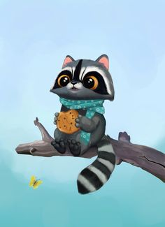 Raccoon Art, Racoon, Animals Images, Animals And Pets, Cute Animals, Happy Art, Sketchbook Inspiration, Illustrations, Woodland Creatures