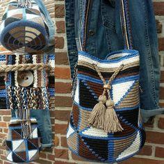 Blue /bruin | Ronde tassen | Kralentik