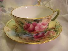 """(Do I have expensive taste??)Beautiful FRENCH ROSES TEA CUP & SAUCER"""" ~  Antique France Limoges French Hand Painted Vintage Victorian Fine Floral Art China Painting Artwork Old European Porcelain 19th Century Circa 1890"""