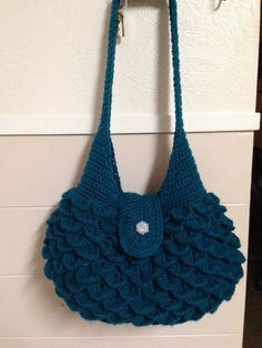 Hand Crocheted Shoulder Bag In Crocodile by HandmadeByMeAndDee