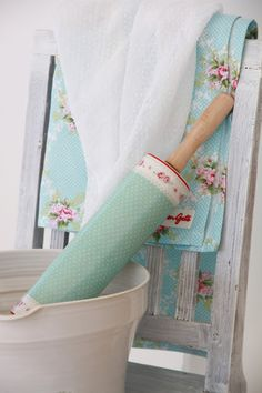 rolling pin and vintage fabric