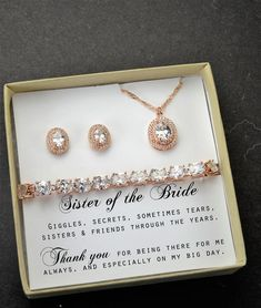 Sister Wedding GiftSister of the Bride Gift Necklace Maid of HonorBridesmaidBest Friend Bridal Shower Rehearsal Bridal Shower Gifts For Bride, Gifts For Wedding Party, Bride Gifts, Our Wedding, Dream Wedding, Church Wedding, Wedding Gifts For Parents, Casual Wedding, Forest Wedding