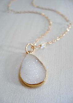 White Druzy Quartz on Gold Filled Chain  http://www.freebird-designs.com/whdrquongofi.html