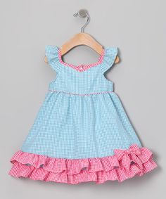 seriously i can't wait for my SIL to have her little girl. do dresses get any cuter than this! Take a look at this Blue & Pink Gingham Ruffle Dress - Infant, Toddler & Girls by Gidget Loves Milo on today! Dresses Kids Girl, Little Girl Dresses, Cute Dresses, Kids Outfits, Summer Dresses, Toddler Dress, Baby Dress, Ruffle Dress, Babydoll Dress