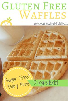 These gluten free waffles are extremely healthy with only 3 ingredients. They are also dairy free, sugar free, soy free. Great recipe to make for the family