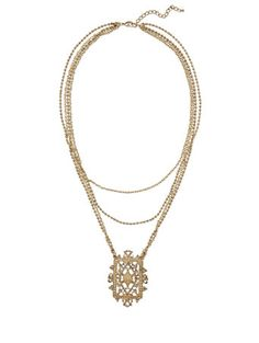 NY&Co Eva Mendes Collection - Filigree Pendant Necklace - (layered chains)