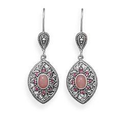 Pink opal and rhodolite earrings