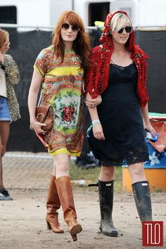 Florence Welch in Dolce & Gabbana at the Glastonbury Festival (great summery, festival outfit...her friend is kind of tragic, though)