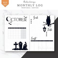 Halloween Monthly Log Cover PRINTABLE / Bullet Journal