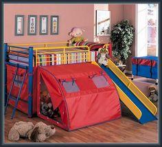 The Simple Stores Oasis Lofted Bed with Slide and Tent Kids Bed Tent, Kids Bunk Beds, Kids Bed Design, Canopy Design, Kids Bedroom, Bedroom Decor, Modern Bedroom, Kids Rooms, Bedroom Ideas