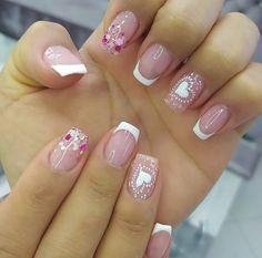 Pink Nails, Gel Nails, Acrylic Nails, Valentine Nail Art, Valentines, Precious Nails, Chic Nails, Cute Nail Designs, Short Nails