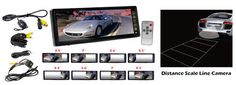 10.2'' TFT LCD Rear View Mirror Monitor W/ Back Up Camera Night Vision & Water Proof W/ Built-In Distance Scale Line