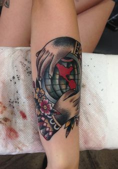 1000 images about tattoos globes on pinterest hand for World in hands tattoo
