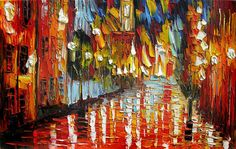 ORIGINAL Oil Painting Red Night  36 x 23 Cityscape Night Palette Knife Big Colorful Red Rainy Reflections Textured ART by Marchella
